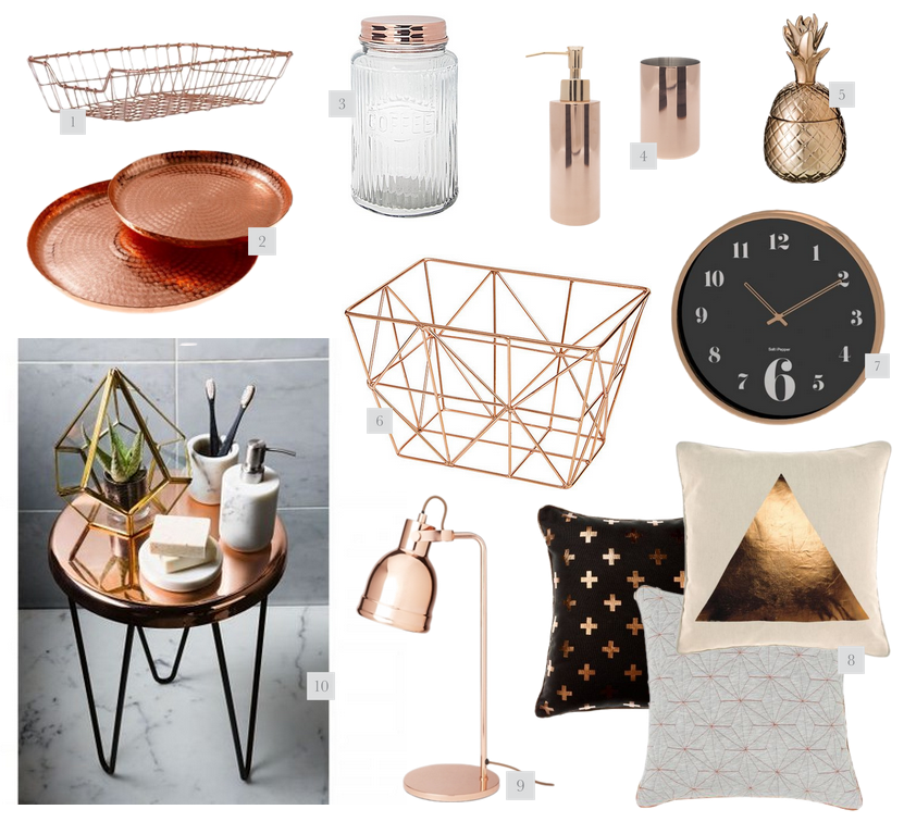 Rose gold home decor for Gold home decorations
