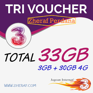 Three Voucher 3GB + 30GB 4G LTE