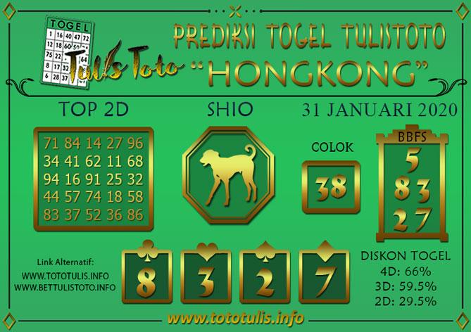 Prediksi Togel HONGKONG TULISTOTO 31 JANUARI 2020