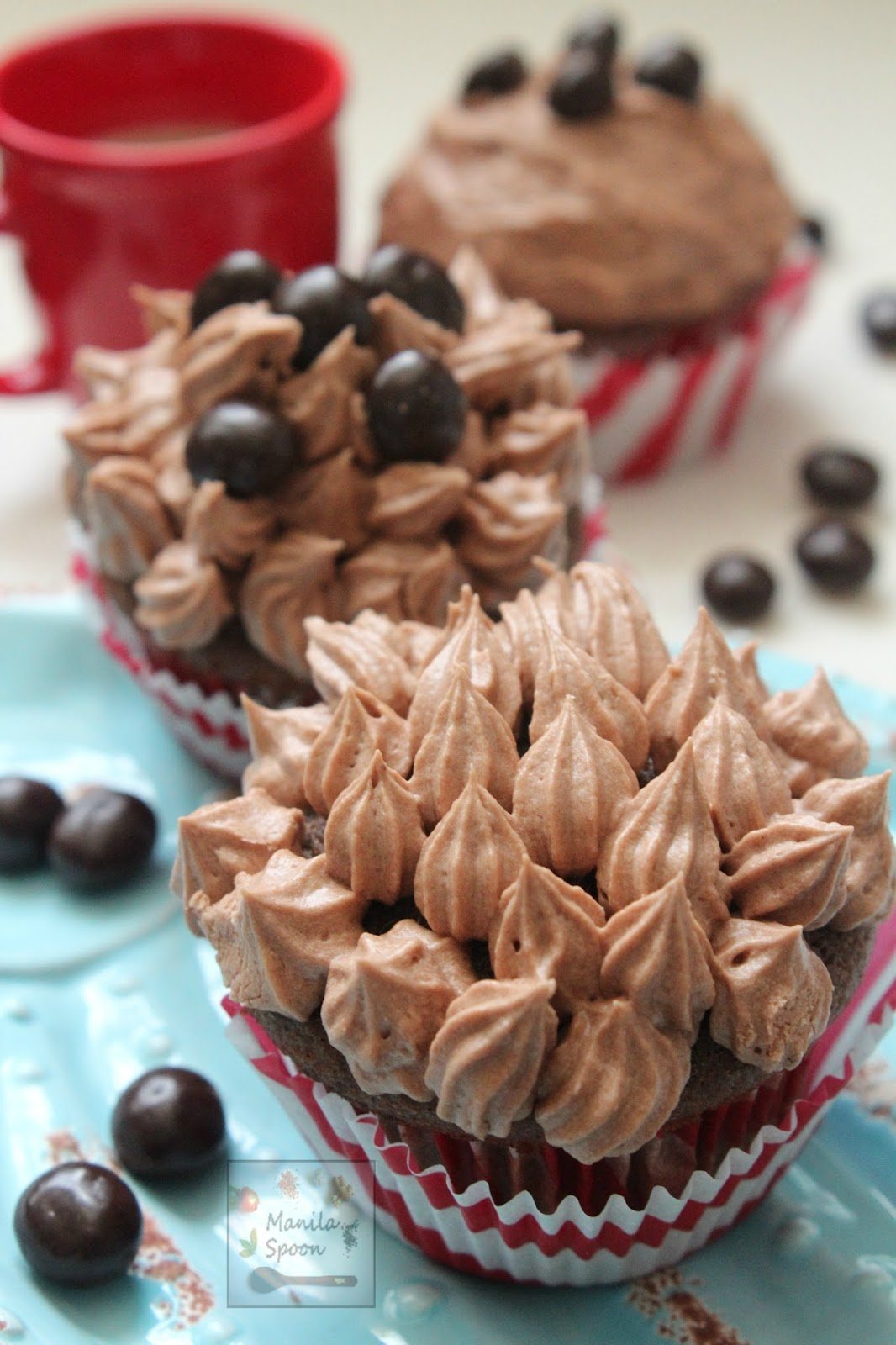 A delicious burst of coffee goodness in every bite of these Chocolate Cappuccino Cupcakes with a luscious espresso-flavored buttercream frosting! Perfect pair with your morning coffee!