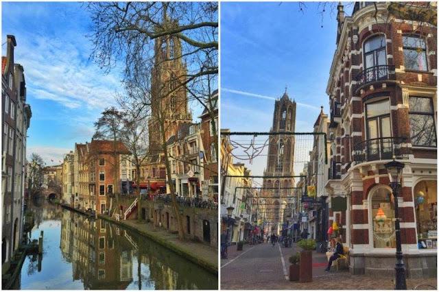 Canal y calle de Utrecht con Domtoren al fondo