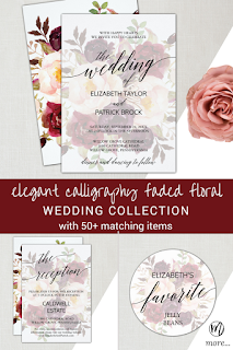 elegant calligraphy faded floral wedding invitation, fall flowers reception insert card, burgundy blush and marsala flower his favorite her favorite favor stickers