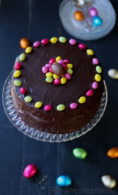 layer cake , gâteau Pâques , chocolat , ganache , rapide
