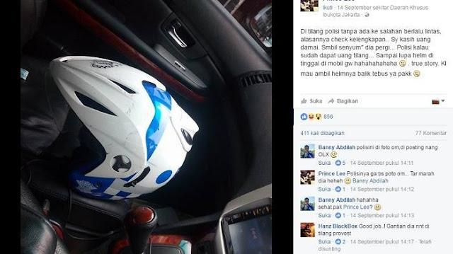 Minta Uang Damai, Polisi Tinggalkan Helmnya. Ehh.. Malah Dimintai Tebusan