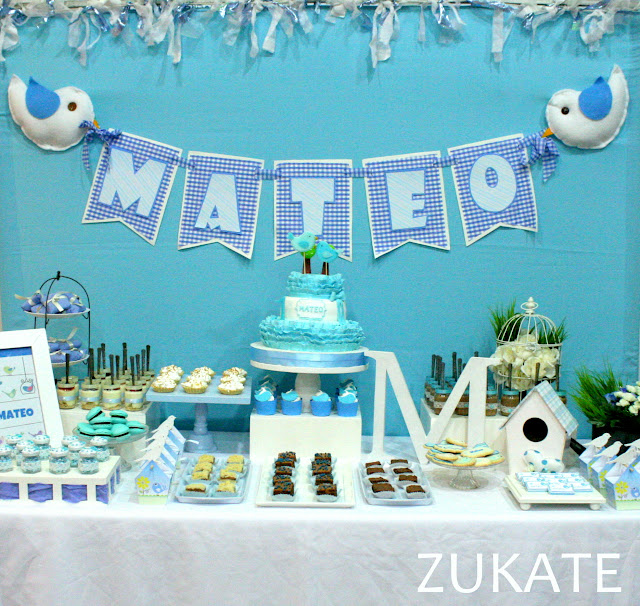Fiesta de pajaritos para mateo zukate - Decoracion para bautismo varon ...
