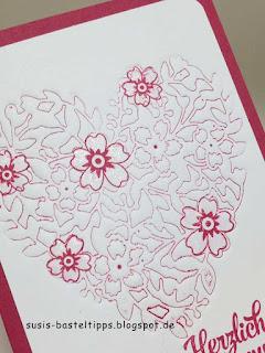 Letterpress Technik mit Stampin Up Stanze Bluehendes Herz, Glückwunschkarte