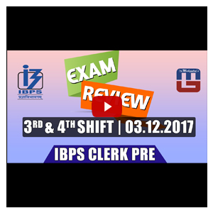 Exam Review with Cut Off | IBPS Clerk Pre 2017 | 3rd Dec - 3rd Shift & 4th Shift