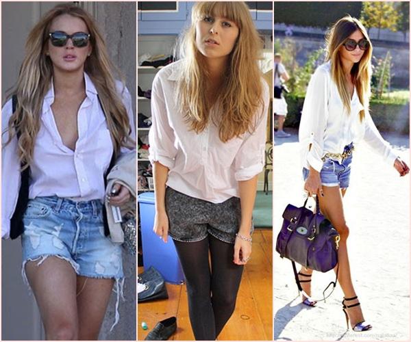 camisa branca e shorts