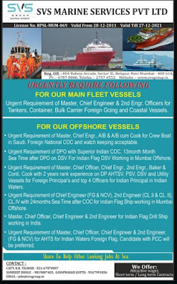 Urgently Require Crew For Tanker, Container, Bulk Carrier, Offshore Vessel