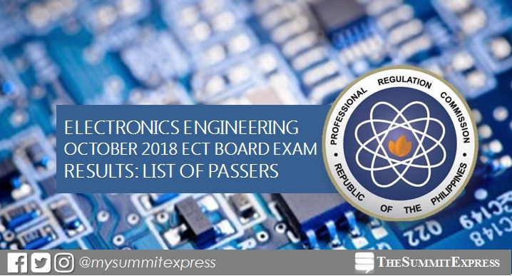 LIST OF PASSERS: October 2018 ECT board exam results