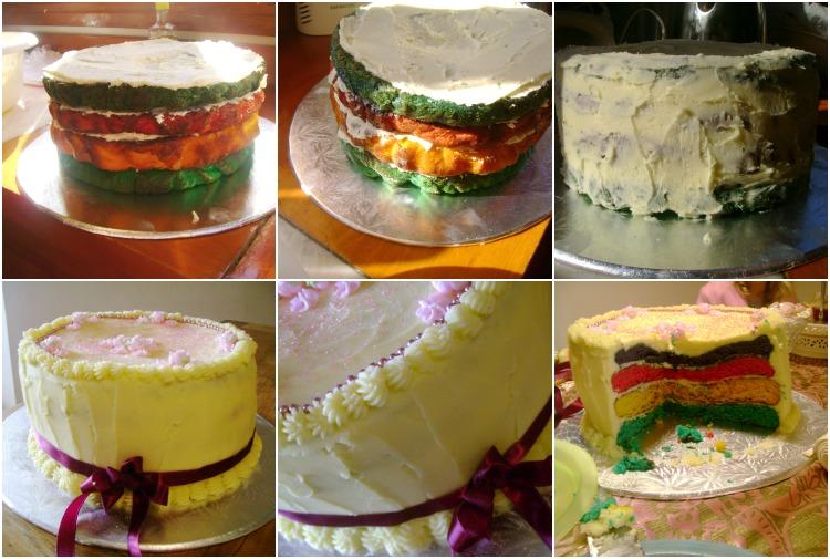 Lumpy rainbow cake - saved by lots of buttercream