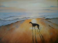 Mary Kemp. Whippet at Sunset