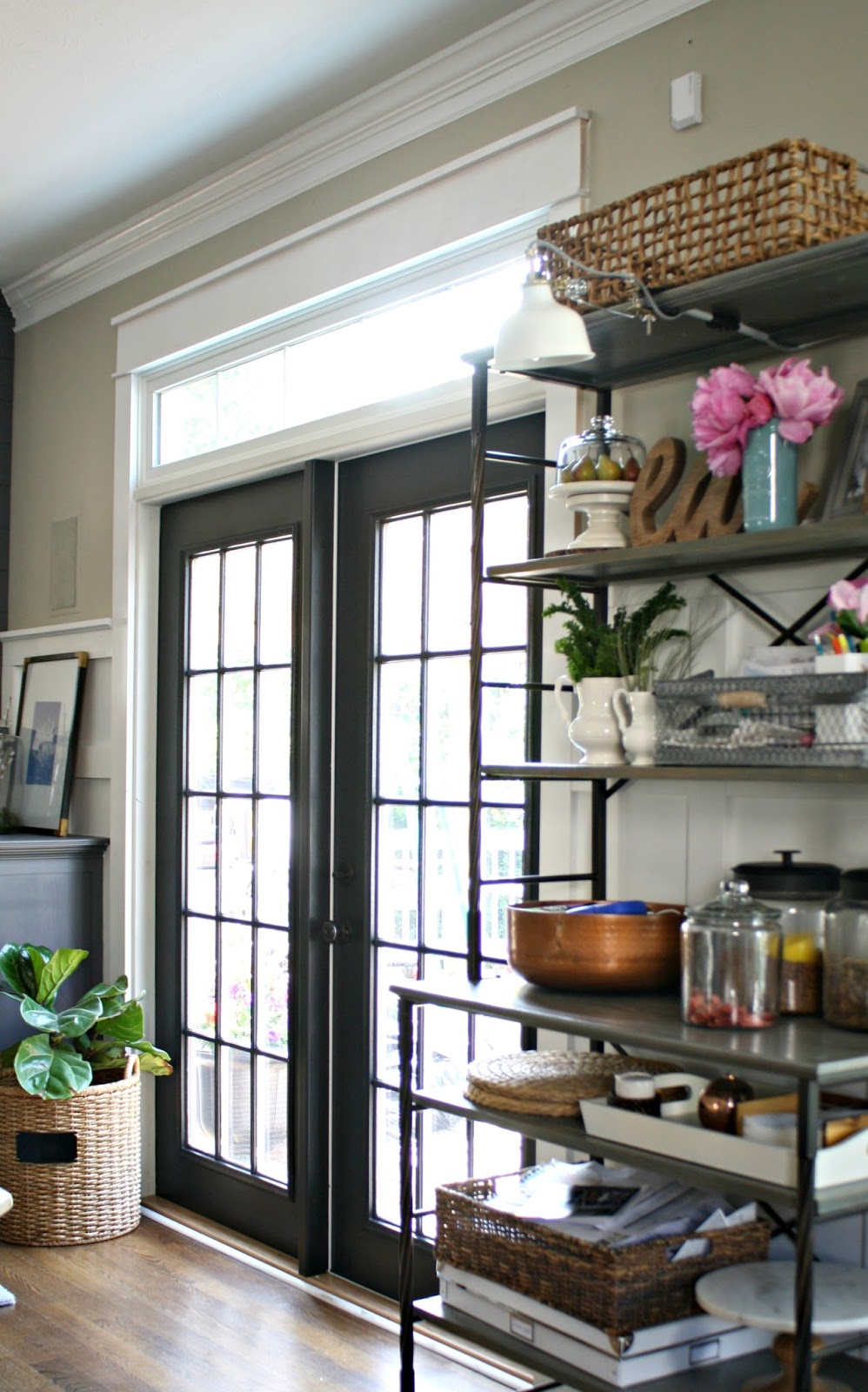 black french doors with white transom