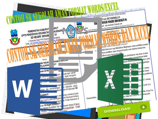 Contoh SK Sekolah Aman Format Words Dan Excel