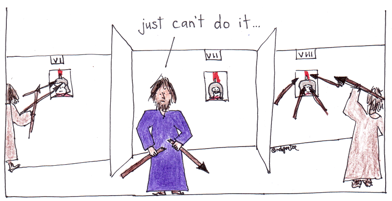 jesus: I just can't use the faces of real human beings - not even Roman soldiers - as target practice. Cartoon by rob g.