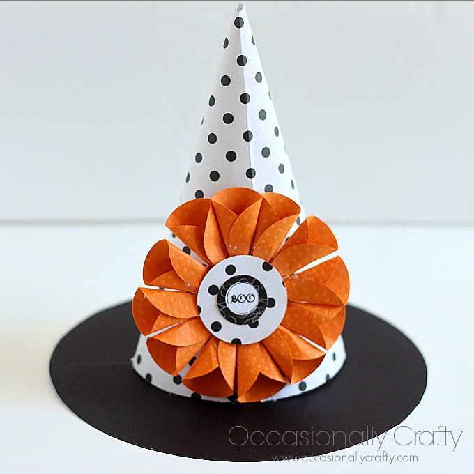 Paper Witch Hat Paper Flower Tutorial Halloween Printable Blog Hop Occasionally Crafty Paper Witch Hat Paper Flower Tutorial Halloween Printable Blog Hop