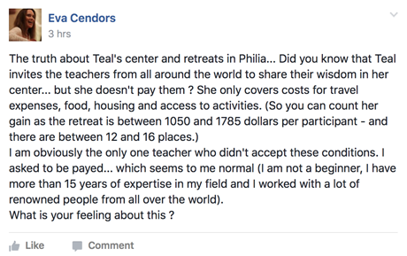 Eva Cendors will not work for free