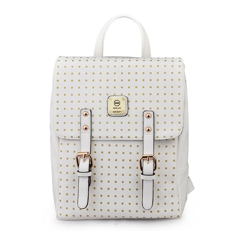 296909e7afb7 Fresh Japan and Korean Style Dots and Metal Buckles PU Backpacks White for  Women