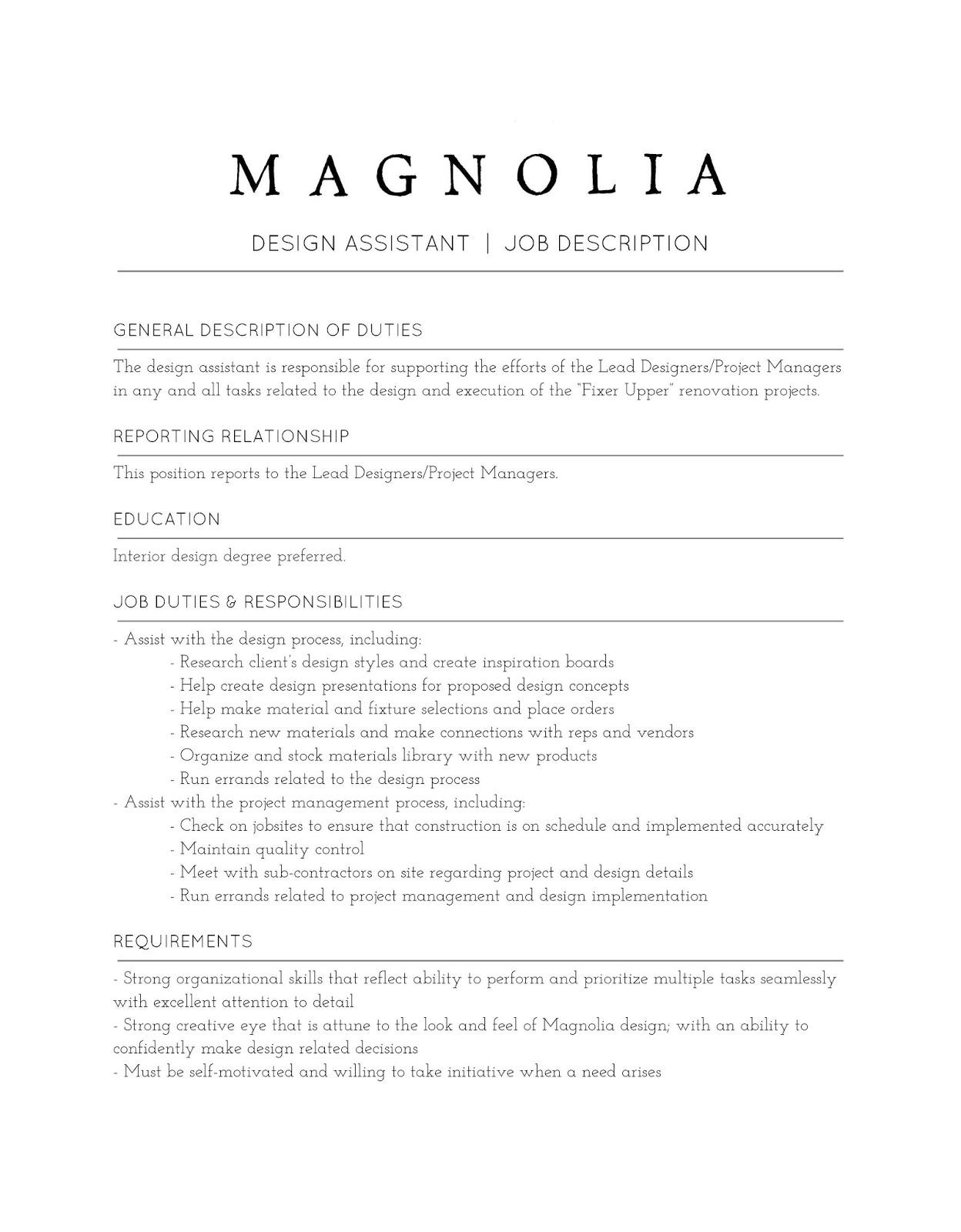 interior design assistant job description