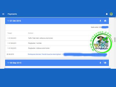 Pembayaran Google Adsense Bulan Oktober 2015.