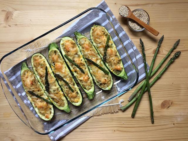 calabacines rellenos de quinoa con espárragos y gambas receta