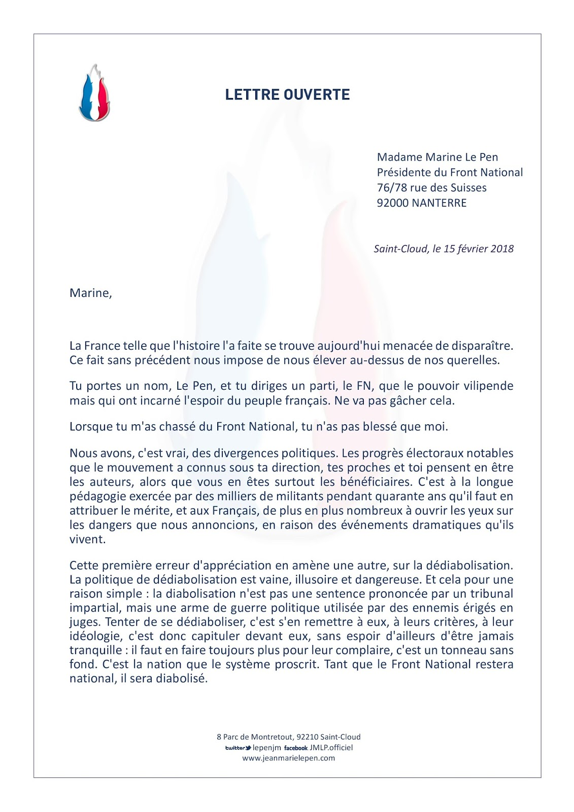 lettre ouverte Jean Marie LE PEN   Site Officiel: Lettre ouverte à Marine Le Pen lettre ouverte