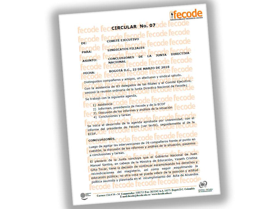Conclusiones de la Junta Directiva Nacional