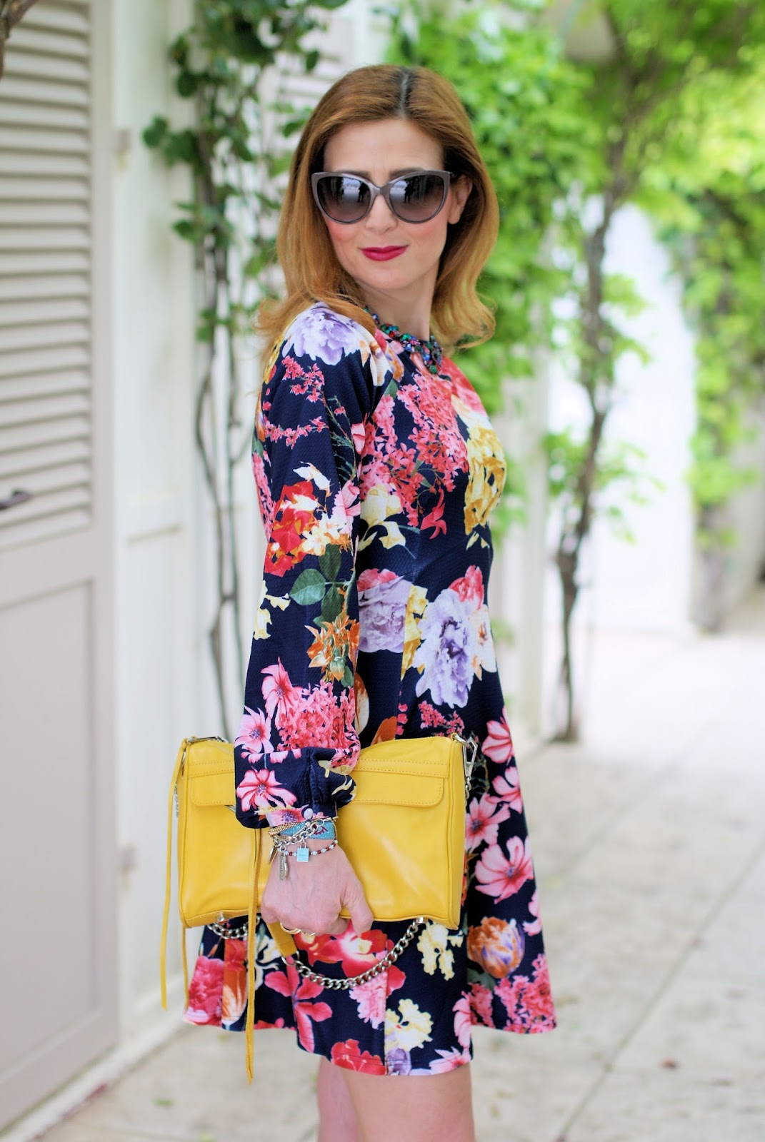 Asos floral dress and Rebecca Minkoff yellow bag on Fashion and Cookies fashion blog, fashion blogger style