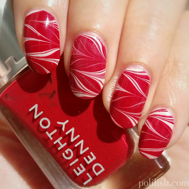 Red and white chevron watermarble featuring Leighton Denny 'Feel the Burn'