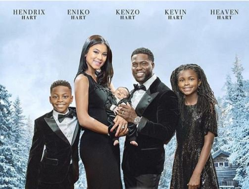 Kevin Hart shares movie-style Christmas card with his wife and kids.