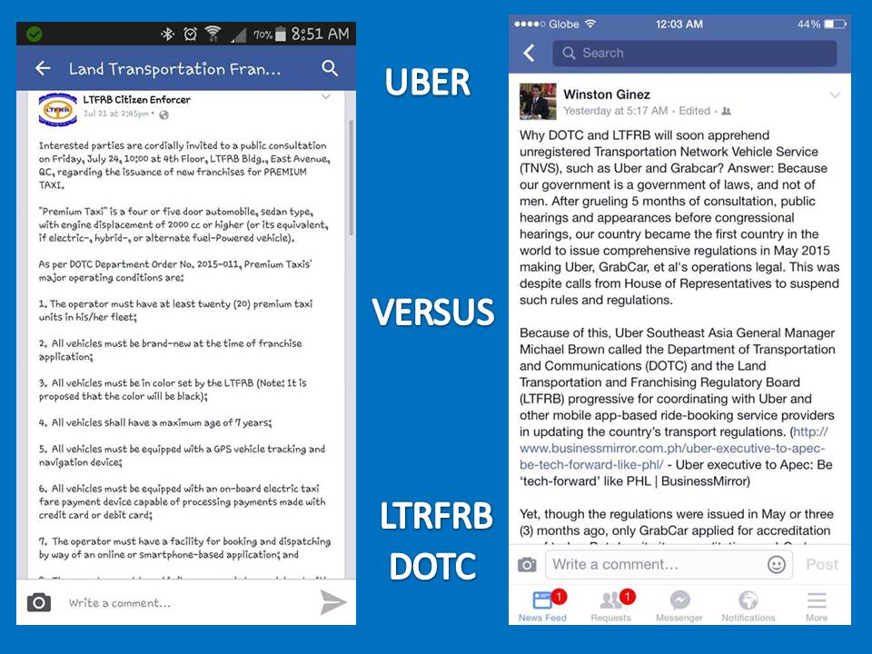 Public Opinions on Uber Versus LTFRB and DOTC ~ Wazzup
