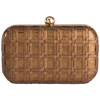 Check Weave Box  Clutch,Bronze by Zooki