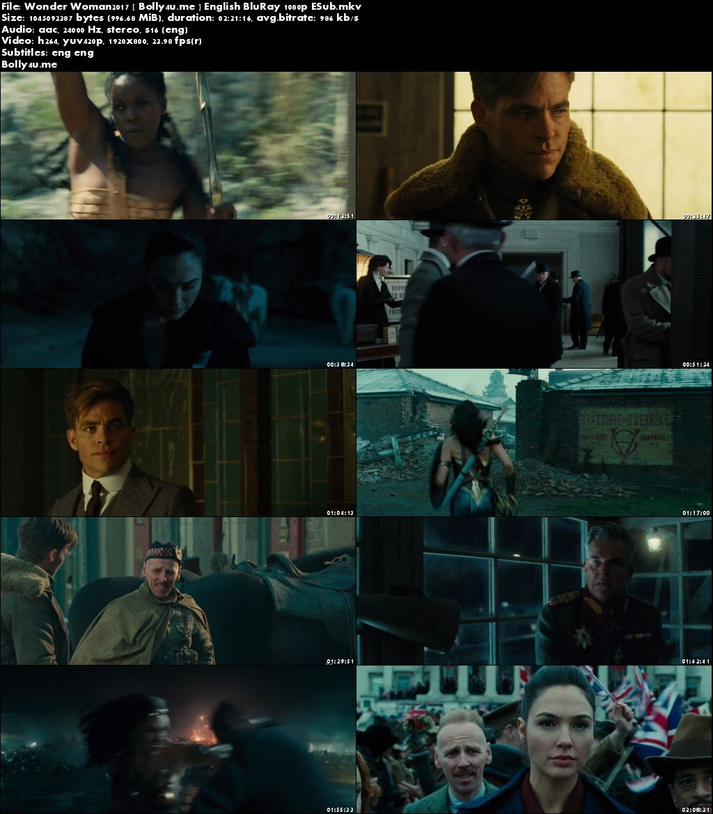 Wonder Woman 2017 BluRay 400MB Full English Movie Download 480p ESub