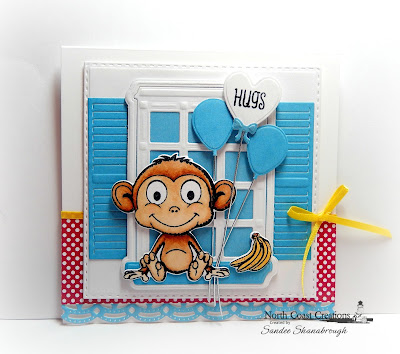 North Coast Creations Stamp Set: Thanks A Bunch, North Coast Creations Custom Dies:Monkey and Bananas, Our Daily Bread Designs Custom Dies:Double Stitched Squares, Welcoming Window, Window Shutter and Awning, Flower Box Fillers, Beautiful Borders, Ornate Hearts, Happy Birthday, Windowsill Candles