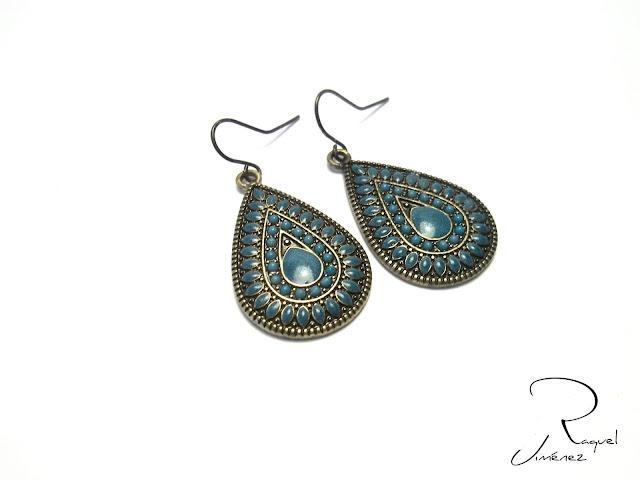pendientes en bronce y turquesa