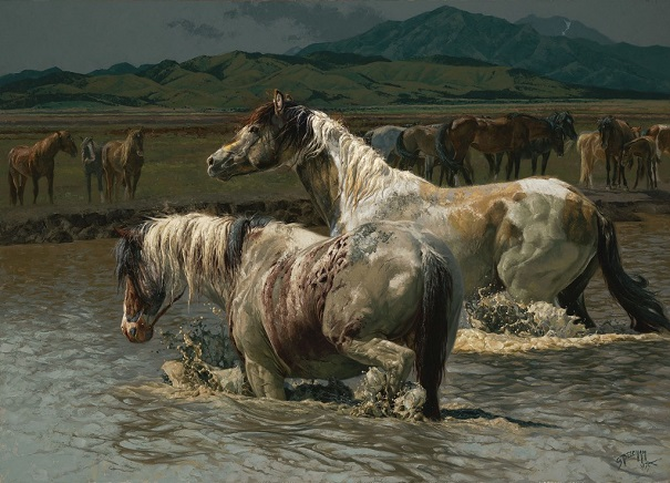 "by Greg Beecham, ""Paint Splashes, Wild Stallions of the Onaqui"" - oil on linen 