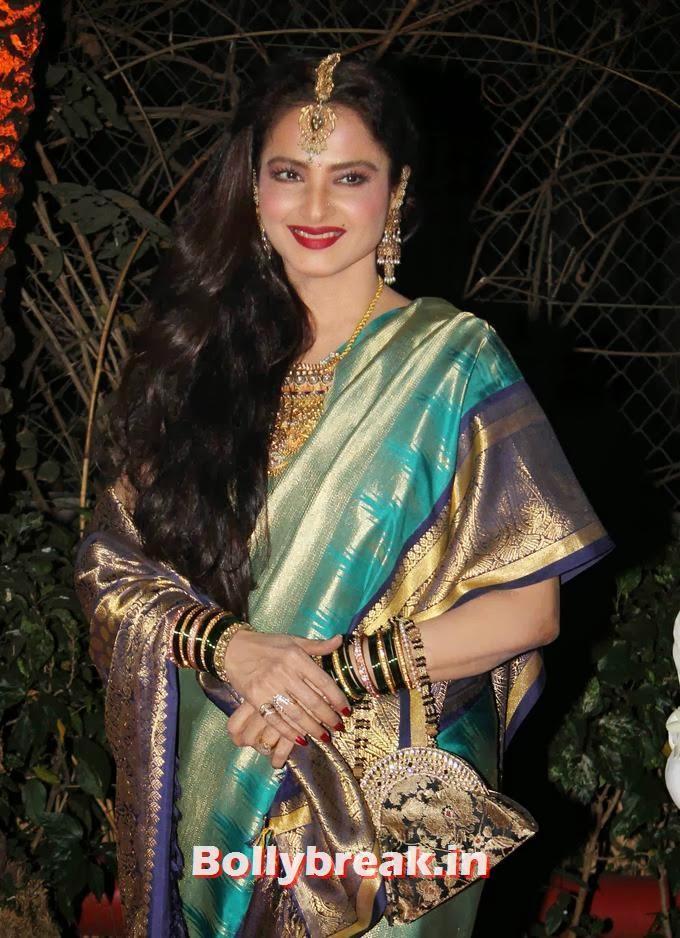 , Rekha in Kanchiveeram Saree at Ahana Deol's Wedding Reception