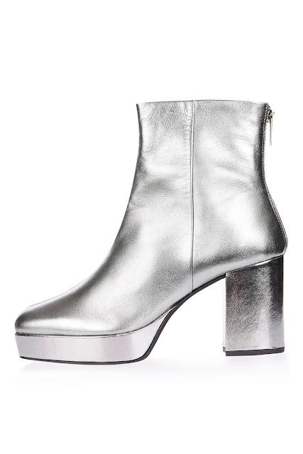 Topshop silver platform boots