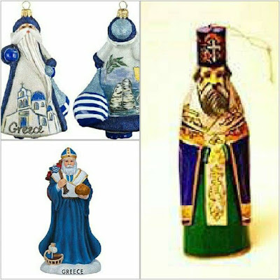 Santa , feeling Greek in blue & white Maximus the Orthodox priest Christmas decorations