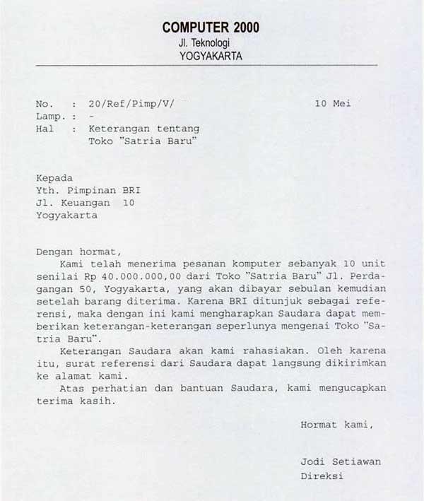Contoh surat permohonan referensi nasabah bank