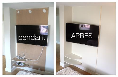 fixer tv au mur sans voir les fils rayon braquage. Black Bedroom Furniture Sets. Home Design Ideas