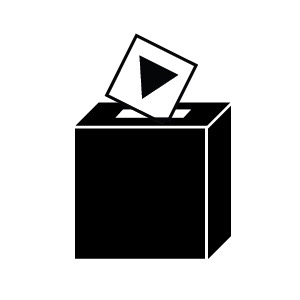 black iconic ballot box logo