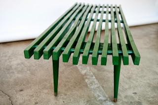 Heygreenie Vintage Wood Slat Bench Mid Century Modern