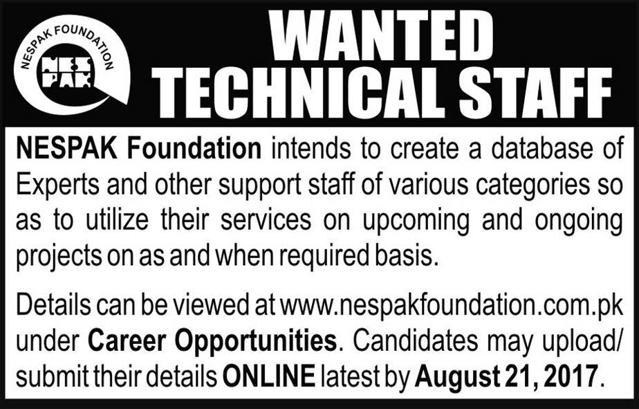 Technical staff required in NESPAK Foundation Aug 2017