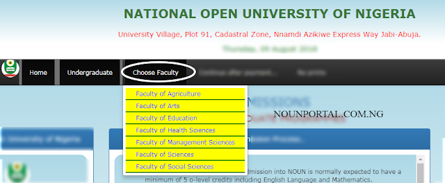 National Open University Admission Application Choose Faculty NOUOnline.NET