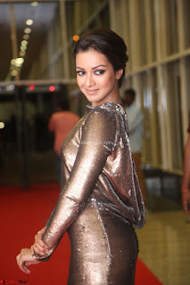 Actress Catherine Tresa in Golden Skin Tight Backless Gown at Gautam Nanda music launchi ~ Exclusive Celebrities Galleries 062.JPG