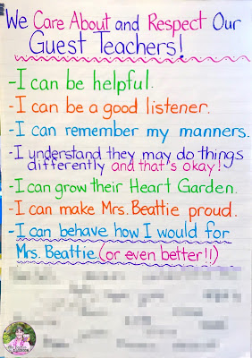 Anchor chart that shows how students can show they care about and respect Guest Teachers.