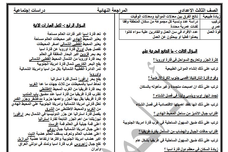 مراجعة الدراسات النهائية للثالث الاعدادى ترم اول 2019 مستر احمد ربيع
