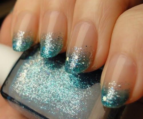 Nail Art Blue Glitter: Diamantes E Chocolate: Unhas Perfeitas