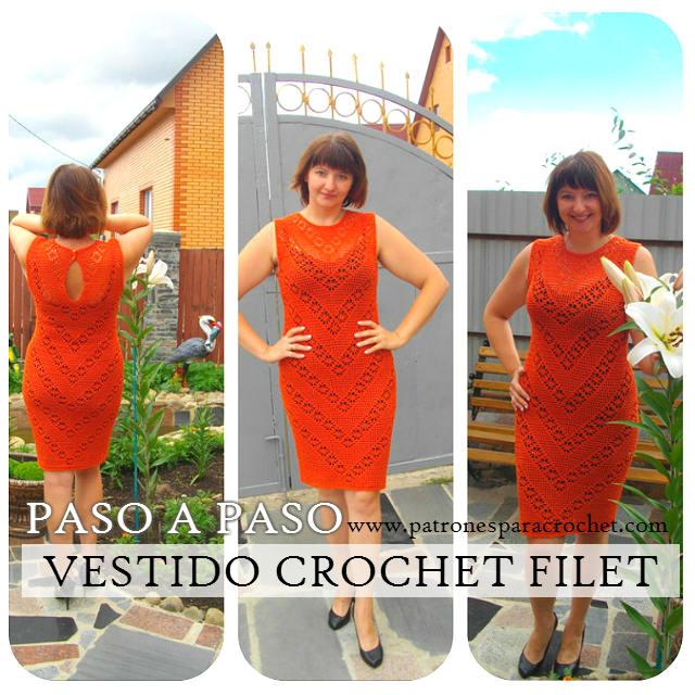Vestido Crochet Filet y Punto Araña / Paso a paso | Patrones para ...
